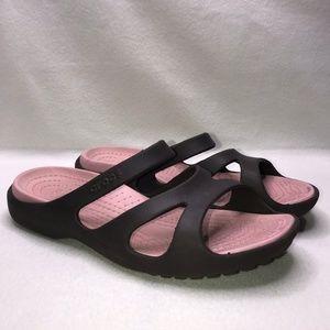 Crocs Pink Brown Mule Sandals Women's 11